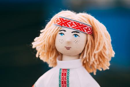 Belarusian Folk Doll. National Folk Dolls Are Popular Souvenirs From Belarus. Stock Photo