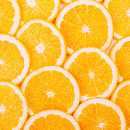 Yummy Oranges Fruit Background. Healthy Food Concept