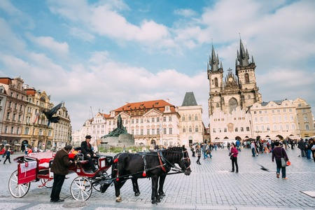 coachman: Prague, Czech Republic - October 13, 2014: Old-fashioned Coach And Coachman At The Old Town Square