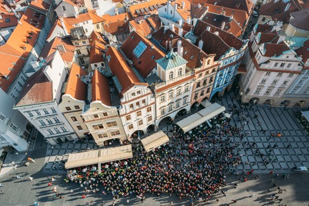 Cityscape of Prague, Czech Republic. View from viewpoint on old hall tower.