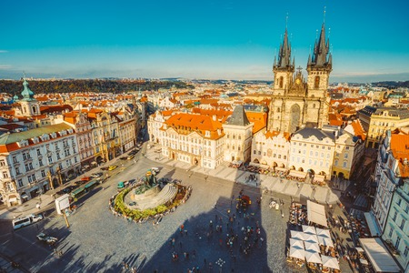 czech women: Famous scene, cityscape of Prague, Czech Republic. Towers of Church Of Our Lady Before Tyn In Old Town Square. Stock Photo