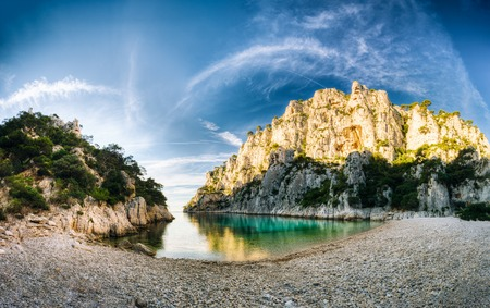 azure coast: Panorama of beautiful nature of Calanques on the azure coast of France. Coast En Vau near in South France.