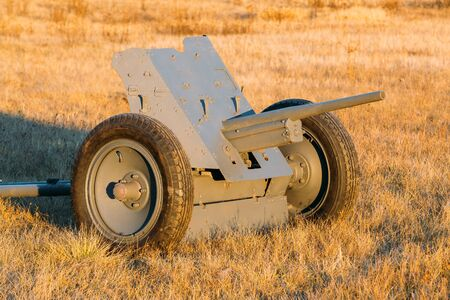 wehrmacht: German Anti-tank Gun That Fired A 3.7 Cm Calibre Shell. It Was The Main Anti-tank Weapon Of Wehrmacht Infantry Units Until Mid-1941. German Anti-tank Gun In Field. Stock Photo