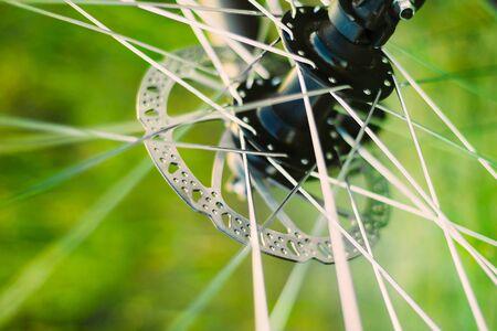 Roue arrière-plan de vélos. Close Up Spokes Wheel
