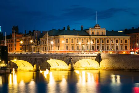norrmalm: Night Sceni View Of Illuminated Old Norrbro Bridge In Stockholm, Sweden