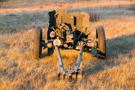 calibre: German Anti-tank Gun That Fired A 3.7 Cm Calibre Shell. It Was The Main Anti-tank Weapon Of Wehrmacht Infantry Units Until Mid-1941. German Anti-tank Gun In Field. Stock Photo
