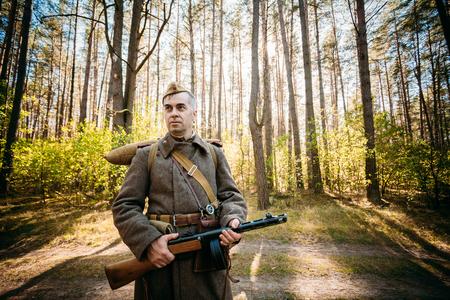 reenaction: Teryuha, Belarus - October 3, 2015: Unidentified re-enactor dressed as Soviet soldier