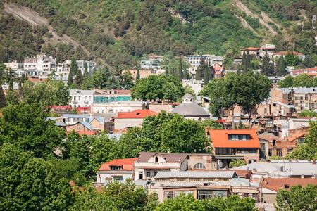 historic district: Scenic View Of Tbilisi Old Town Sololaki, Georgia. Historic District Stock Photo