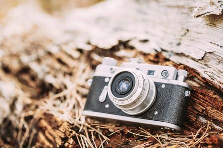 viewfinder vintage: 35mm Vintage Old Retro Small-Format Rangefinder Camera On Old Fallen Wood Tree In Forest.