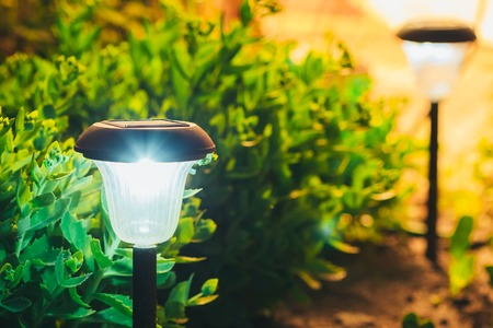 Decorative Small Solar Garden Light, Lanterns In Flower Bed In Green Foliage. Garden Design. Solar Powered Lamp Stok Fotoğraf