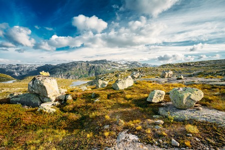 beautiful weather: Beautiful Landscape Of Norwegian Mountains. Nature Of Norway. Travel And Hiking. Amazing Scenic View At Sunny Summer Day. Nobody. Scandinavia. Blue Sky