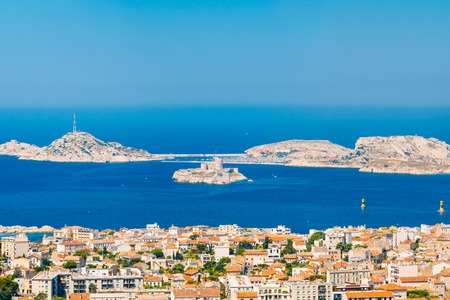 castle if: Aerial View, Cityscape Of If Castle In Marseilles, France. Sunny Summer Day With Bright Blue Sky.