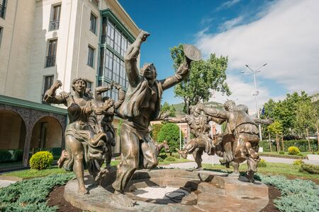 stemming: Tbilisi, Georgia - May 19, 2016: Berikaoba Scupture Statue In Tbilisi Georgia. Berikaoba Is An Improvised Masqueraded Folk Theatre In Georgia, Stemming From The Pagan Festivity Of Fertility And Rebirth. Editorial