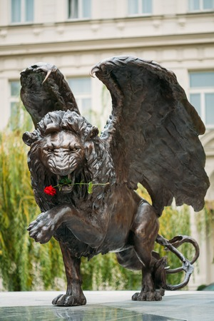 czechoslovak: Prague, Czech Republic - October 10, 2014: Winged Lion Memorial in Prague Czech Republic. Monument is expression of British communitys lasting gratitude to 2,500 Czechoslovak airmen who served with RAF between 1940-1945 for freedom of Europe.