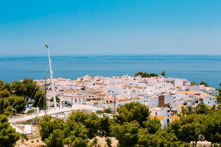 nerja: Mediterranean architecture - white houses in Nerja, Malaga Province, Andalusia, Spain