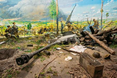 Minsk, Belarus - December 20, 2015: Diorama depicting the defeat of Nazi troops in Belarus. Belarusian Museum Of The Great Patriotic War In Minsk, Belarus Editorial