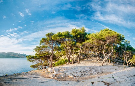 azure coast: Panorama Of Beautiful Nature Of Calanques On The Azure Coast Of France. Calanques - A Deep Bay Surrounded By High Cliffs. Stock Photo