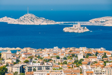 monte cristo: Aerial view, cityscape of If Castle in Marseilles, France. Sunny summer day with bright blue sky. Stock Photo