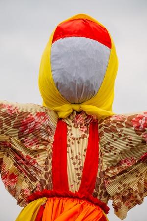 effigy: Close-Up Faceless Straw Effigy Of Dummy Of Maslenitsa, Symbol Of Winter And Death In Slavic Mythology, Pagan Tradition. The Eastern Slavic Religious, Folk Holiday Celebrating Before Great Lent. Stock Photo