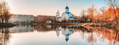 St. Alexander Nevsky Church in Gomel, Homiel Belarus. Panorama With Orthodox Church At Sunset Or Sunrise Stock Photo