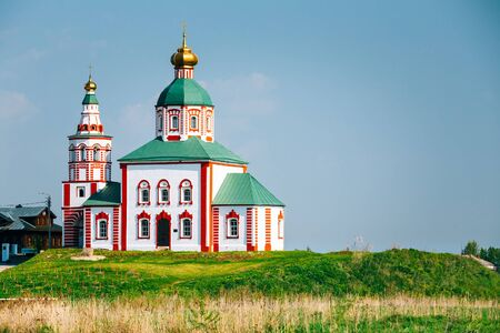 golden ring: Church of Elijah the Prophet, Elias Church - church in Suzdal, Russia. Built in 1744. Golden Ring of Russia Stock Photo
