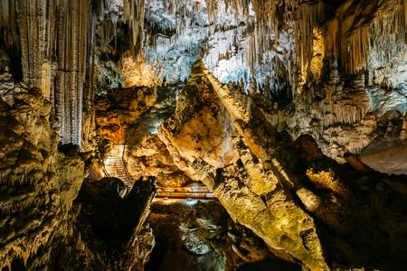 nerja: Nerja, Spain - June 20, 2015: Stalactites and stalagmites in the famous Nerja Caves, In Nerja, Malaga Province, Andalusia, Spain. Stock Photo