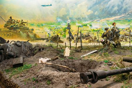 Minsk, Bielorrusia - 20 de diciembre de 2015: diorama que representa la derrota de las tropas nazis en Bielorrusia. Bielorruso Museo de la Gran Guerra Patria en Minsk, Bielorrusia