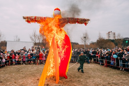 slavic: Gomel, Belarus  - March 12, 2016: The Scene Of Ignition Dummy Symbolizing  Winter And Death In Slavic Mythology, Pagan Tradition. The Oldest Surviving Eastern Slavic Religious, Folk Holiday Maslenitsa