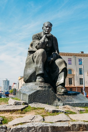 national poet: Minsk, Belarus - May 4, 2015: Monument in honor of the national poet and writer of Belarus Yakub Kolas in Minsk, Belarus.