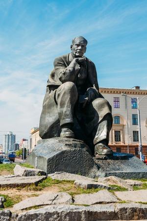 Minsk, Belarus - May 4, 2015: Monument in honor of the national poet and writer of Belarus Yakub Kolas in Minsk, Belarus.