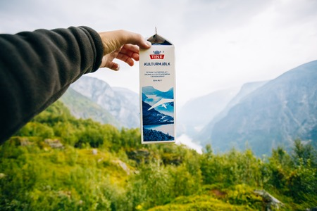 tine: Aurland, Norway - August 2, 2014: Package curdled milk Kulturmjolk or sour from Tine in hand on background of Norwegian mountains. TINE SA is the largest Norwegian dairy product cooperative consisting of around 15,000 farmers and 5,600 employees Editorial