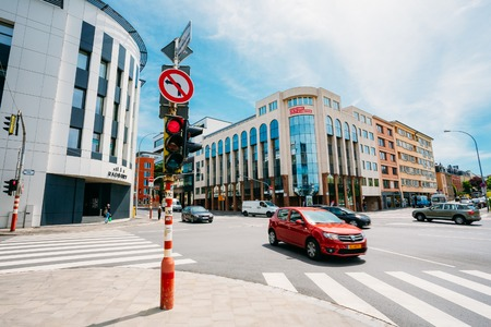 Luxembourg, Luxembourg - June 17, 2015: Traffic at the intersection Route dArlon in city Editorial