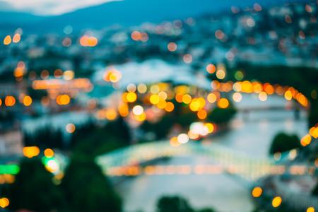 boke: The Blurred Boke Bokeh Background Of City Night Illumination And Lights Of Tbilisi, Georgia.