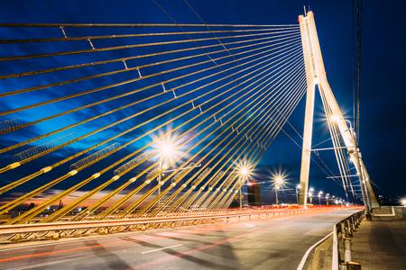 shrouds: Shrouds Of  Vansu Bridge - formerly Gorky Bridge In Riga, Latvia. 595 Meters In Length. Vansu Bridge - One Of The Symbols Of Modern Riga. Cable-Stayed Bridge That Crosses The Daugava River. Stock Photo