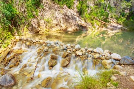 nerja: Scenic View Of Rio Chillar River Near Nerja, Malaga Region, Spain. Landscape, Long Exposure. Nobody Stock Photo