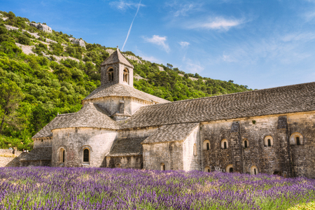 vaucluse: Beautiful Landscape Lavender Field And An Ancient Monastery Abbey Abbaye Notre-dame De Senanque In Vaucluse, France