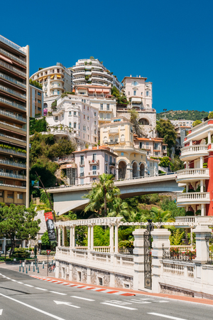 Monte-Carlo, Monaco - June 28, 2015: Real estate, high-rise buildings in the downtown area.