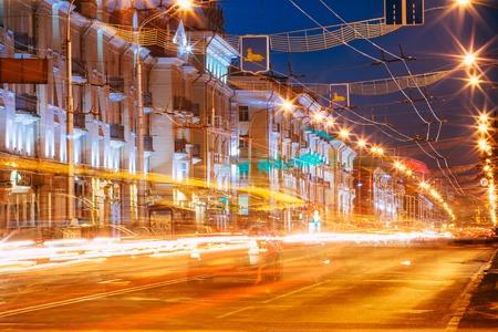 Gomel, Belarus - November 28, 2015: Night Traffic On Lenin Avenue In Gomel, Belarus. Street At Night, Long Exposure.