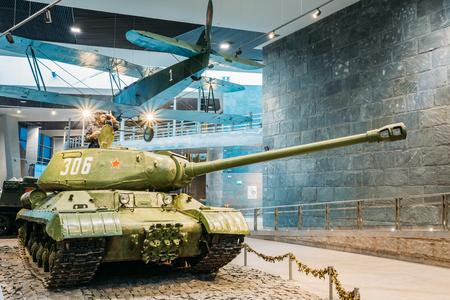 Minsk, Belarus - December 20, 2015: Soviet russian heavy tank IS-2 In The Belarusian Museum Of The Great Patriotic War