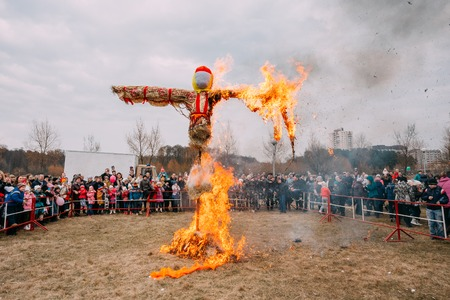 Gomel, Belarus - March 12, 2016: The Scene Of Burning On Bonfire The Dummy As Winter And Death Symbol In Slavic Mythology, Pagan Tradition. The Oldest Surviving Eastern Slavic Folk Holiday Maslenitsa Editorial