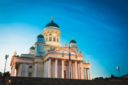 pediment: Finland Helsinki Lutheran Cathedral, Famous Landmark, Dome Building In Neoclassical Style. Facade With Colonnade And Pediment In Summer Sunset Evening Under Blue Sky, The Popular Tourist Attraction.