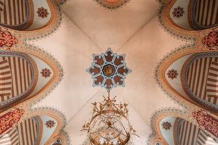 chandelier background: Vilnius, Lithuania - July 04, 2016: The Vaulted Painted Ceiling With The Chandelier Of Orthodox Church Of St.Nicholas.