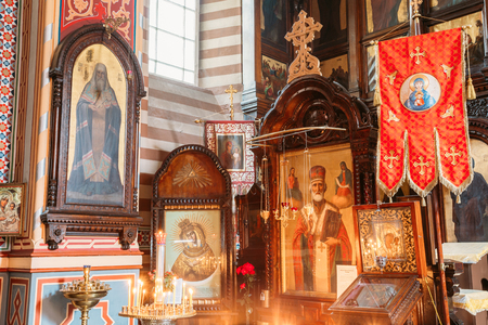 Vilnius, Lithuania - July 04, 2016: Close The Left Side Of Iconostasis In Christian Orthodox Church Of Saint Nicholas. Editorial