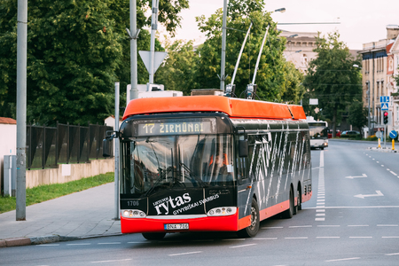 trackless: Vilnius, Lithuania - July 08, 2016: The City Black And Red Trolleybus Riding On Route Number Seventeen To Zirmunai District. Editorial
