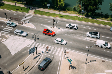 ligne: Movement of cars during sunny summer day on the boulevard de la Ligne in Avignon, France. View of the street from the castle walls.