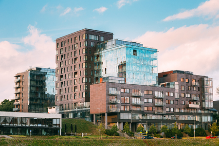 Vilnius, Lithuania. The Contemporary Multilevel Apartment Complex In Scandinavian Architectural Style Stock Photo