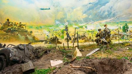 nazi: Minsk, Belarus - December 20, 2015: Diorama depicting the defeat of Nazi troops in Belarus. Belarusian Museum Of The Great Patriotic War In Minsk, Belarus Editorial