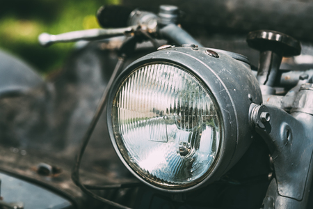 sidecar: Close View Of Headlight Of The Old Rarity Gray Tricar Or Three-Wheeled Motorbike With A Sidecar.