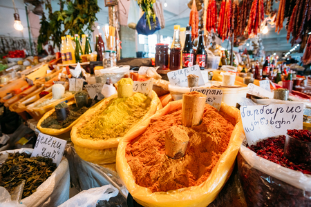 Batumi, Georgia - May 28, 2016: The Abundance Of Varicoloured Aromatic Spices, Herbs, Condiments On Sale At The Counter Of The Covered Market, Bazar.