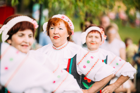 Gomel, Belarus - May 9, 2016: Close View Of Elderly Women In Belarussian National Costumes, The Cast Of Vocal And Choral Ensemble On Celebrating Victory Day 9 May. Editorial